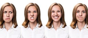 Молодая женщина с различными выражениями Стоковые Изображения