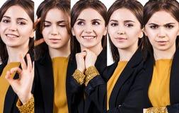 Молодая женщина с различными выражениями Стоковое Фото