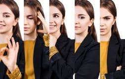 Молодая женщина с различными выражениями Стоковое Изображение RF
