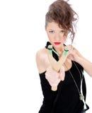 Молодая женщина с рогаткой Стоковые Фотографии RF