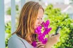 Молодая женщина с цветками весны фиолетовыми и с smartphone против детенышей весны цветка принципиальной схемы предпосылки белых  Стоковые Фотографии RF
