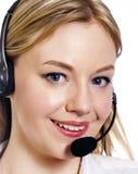 Молодая женщина с шлемофоном центра телефонного обслуживания стоковые фотографии rf