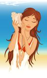 Молодая женщина с seashell Иллюстрация штока