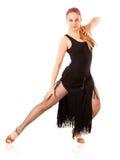 Молодая женщина танцев на белой предпосылке стоковые фотографии rf