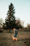 Молодая женщина тренирует ее собаку в парке вечера Стоковые Фотографии RF