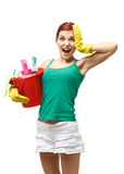 Молодая женщина чистки Стоковая Фотография