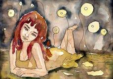 Молодая женщина иллюстрация штока