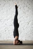Молодая женщина yogi в представлении sirsasana salamba, белом backgroun просторной квартиры Стоковые Изображения RF