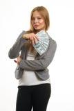 Молодая жизнерадостная кавказская коммерсантка в костюме Стоковые Изображения RF