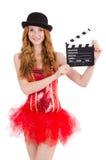 Молодая изолированная фея с clapperboard Стоковая Фотография