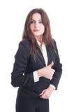 Молодая и уверенно бизнес-леди показывая как или большой палец руки-вверх gest Стоковые Фотографии RF