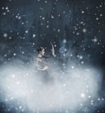 Молодая и эмоциональная женщина в платье моды на снежной предпосылке Стоковые Изображения