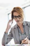 Молодая коммерсантка на звонке пока пишущ на столе в офисе Стоковое Изображение RF