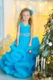 Молодая красивая девушка в голубом белом элегантном платье вечера сидя на поле около рождественской елки и настоящих моментах на  стоковое изображение