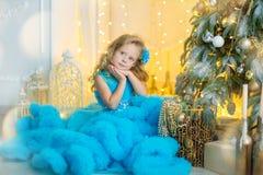 Молодая красивая девушка в голубом белом элегантном платье вечера сидя на поле около рождественской елки и настоящих моментах на  стоковые изображения