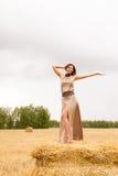 Молодая красивая девушка стоя на стоге сена Стоковая Фотография