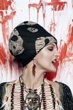 Молодая красивая женщина в индийском украшении Стоковое фото RF