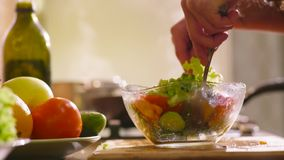 Молодая красивая женщина в домашних одеждах варит в кухне Она делает некоторый свежий салат с зеленым салатом