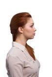 Молодая красивая женщина в профиле стоковые фотографии rf