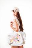 Молодая красивая женщина в sundress Стоковое Изображение