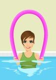 Молодая красивая женщина используя лапшу бассейна иллюстрация штока