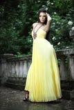 Молодая красивая женщина на лестницах Стоковая Фотография