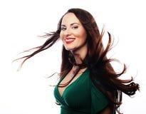 Молодая красивая женщина нося зеленое платье Стоковая Фотография