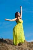 Молодая красивая женщина ослабляет на сене Стоковое Изображение RF