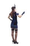 Молодая красивая женщина представляя в cabare ретро стоковое изображение rf