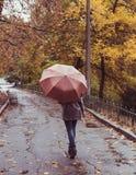 Молодая красивая женщина при зонтик представляя снаружи на времени падения Стоковая Фотография RF