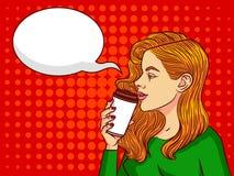 Молодая красивая женщина с чашкой кофе Иллюстрация вектора