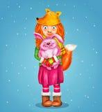 Молодая красивая лиса девушки с милым маленьким розовым кроликом на голубой предпосылке Стоковые Изображения RF
