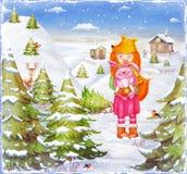 Молодая красивая лиса девушки с милым розовым кроликом в лесе Стоковое Изображение