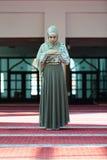 Молодая красивая мусульманская женщина моля в мечети Стоковые Изображения
