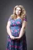 Молодая красивая счастливая блондинка плюс модель в dres, портрет размера женщины xxl на серой предпосылке студии Стоковые Изображения