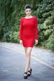 Молодая красивая японская женщина с красным платьем Стоковое Изображение