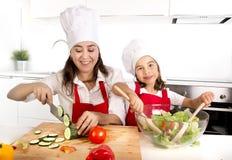 Молодая мать и маленькая дочь на кухне дома подготавливая салат для рисбермы обеда нося и шляпы кашевара Стоковое Фото