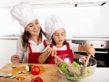 Молодая мать и маленькая дочь на кухне дома подготавливая салат для рисбермы обеда нося и шляпы кашевара Стоковая Фотография