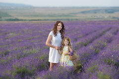 Молодая мать при молодая дочь усмехаясь на поле лаванды Дочь сидя на руках матери Девушка в красочном Стоковое Изображение RF