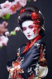 Молодая милая гейша в кимоно стоковое изображение rf