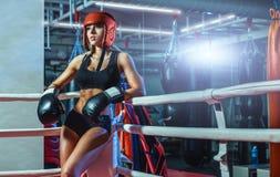 Молодая милая женщина боксера стоя на кольце Стоковая Фотография