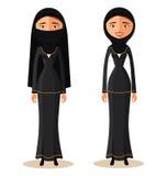 Молодая мусульманская арабская женщина в hijab Иллюстрация вектора шаржа арабского характера людей плоская изолировано бесплатная иллюстрация