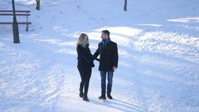 Молодая пара идет в парк зимы акции видеоматериалы