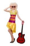 Молодая певица с отрезком афро Стоковое Изображение