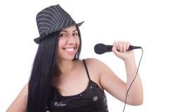 Молодая певица с mic стоковая фотография rf