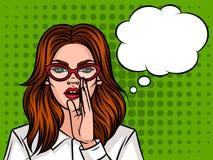 Молодая привлекательная девушка хочет сказать секрет Иллюстрация штока