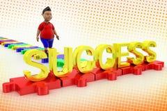 Молодая прогулка мальчика к тексту успеха в полутоновом изображении Стоковые Изображения RF