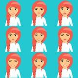 Молодая рыжеволосая девушка выражает эмоции иллюстрация вектора