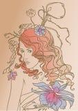 Молодая рыжеволосая женщина иллюстрация вектора