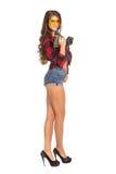 Молодая сексуальная женщина держа сверло конструкции Стоковая Фотография RF